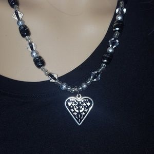 Cute heart black silver beaded necklace